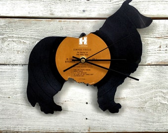 Collie Clock | Vinyl Record • Upcycled Recycled Repurposed • Border Collie • Dog Breeds • Shadow Art • Unique Gifts • Retro Vintage • Home D
