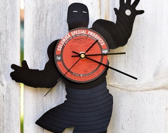 Iron Man Clock | Vinyl Record • Upcycled Recycled Repurposed • Marvel Comics • Avengers • Shadow art • Unique Gifts • Superhero • Silhouette
