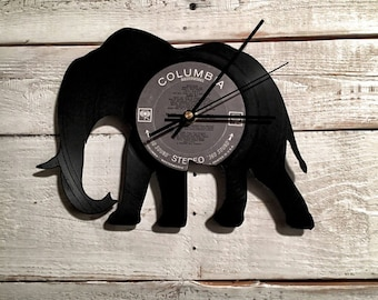 Elephant Vinyl Record Clock / Living Room Wall Decor / Unique Christmas Gifts / Unique Gift Ideas / Asian Decor / Birthday Gifts for Her