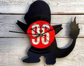 Charmander Clock | Vinyl Record • Upcycled Recycled Repurposed • Pokemon • Pokemon Go • Handmade Silhouette Portrait • Shadow Art