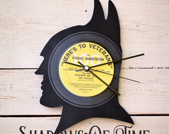 Batman Clock | Vinyl Record • Upcycled Recycled Repurposed • DC Comics • Shadow art • Unique Gifts • Superhero • Silhouette