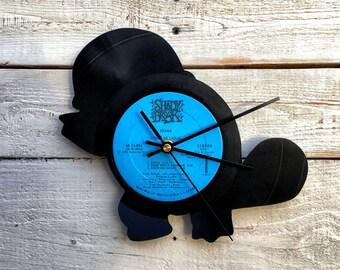 Squirtle Clock | Vinyl Record • Upcycled Recycled Repurposed • Pokemon • Pokemon Go • Handmade • Silhouette Portrait • Shadow Art