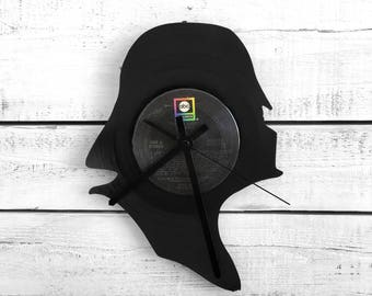 Darth Vader Clock | Vinyl Record • Upcycled Recycled Repurposed • Star Wars • Silhouette Portrait • Shadow Art • Unique Gifts