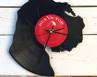 Schnauzer Clock | Vinyl Record • Upcycled Recycled Repurposed • Dog Breed • Silhouette • Shadow Art