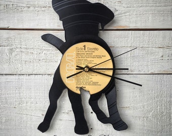 Puppy Clock | Vinyl Record • Upcycled Recycled Repurposed • Dog Breed • Silhouette • Shadow Art