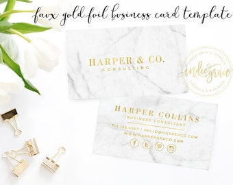 Real gold foil business card template moo gold foil design faux gold foil business card template marble business card design small business branding business card template colourmoves