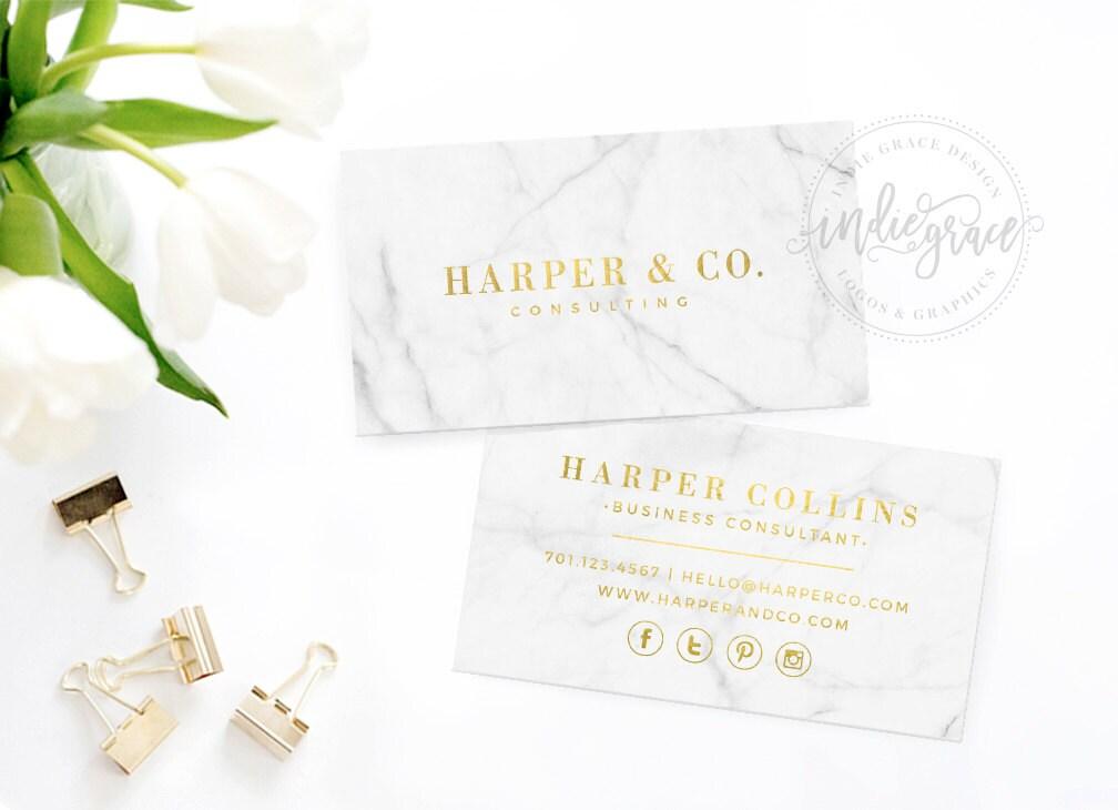 Real Gold Foil Business Card Template Moo Gold Foil Design Etsy