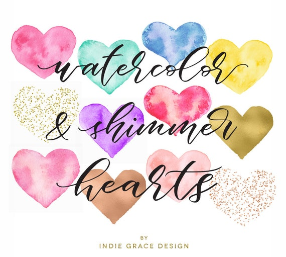 watercolor shimmer hearts confetti clip art hand painted etsy rh etsy com clip art confetti on table clip art confetti in red