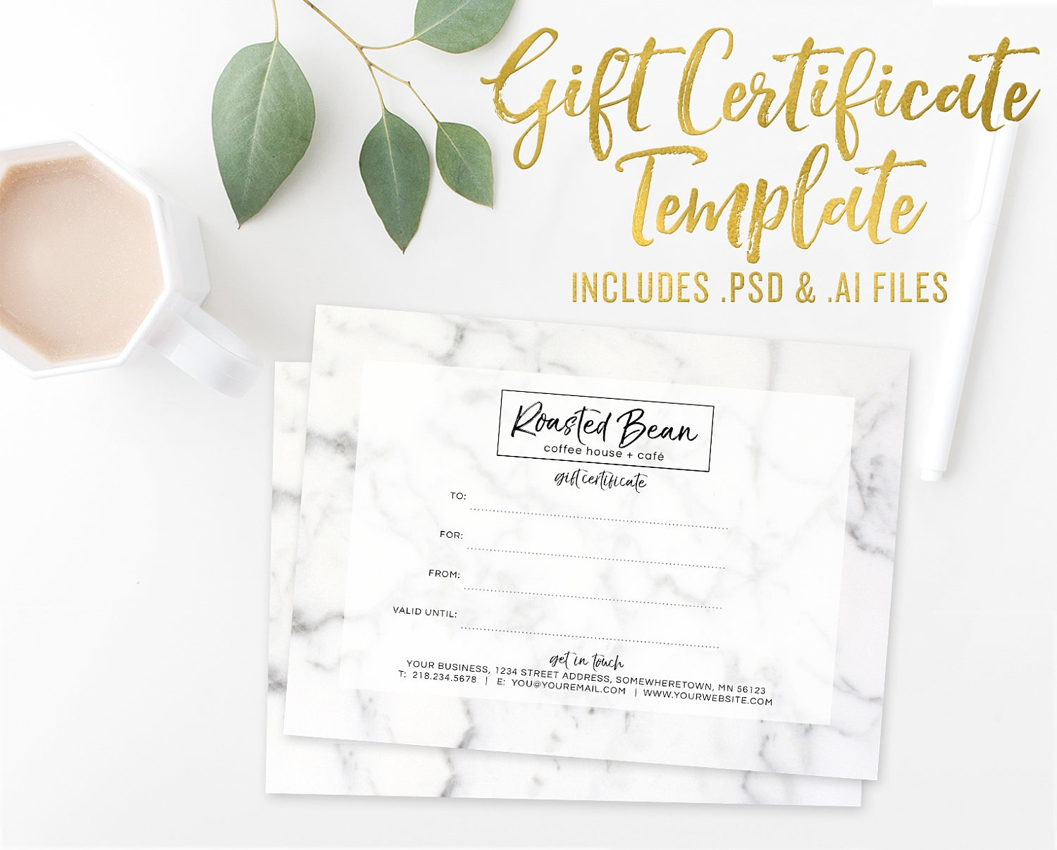 Marble Gift Certificate Card Template Photoshop Template Etsy