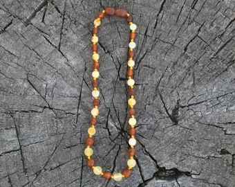 Baltic Amber Teething Necklace, Bracelet, Anklet, or Bellychain - Cognac & Milky Yellow / White Unpolished - (children and adult sizes)