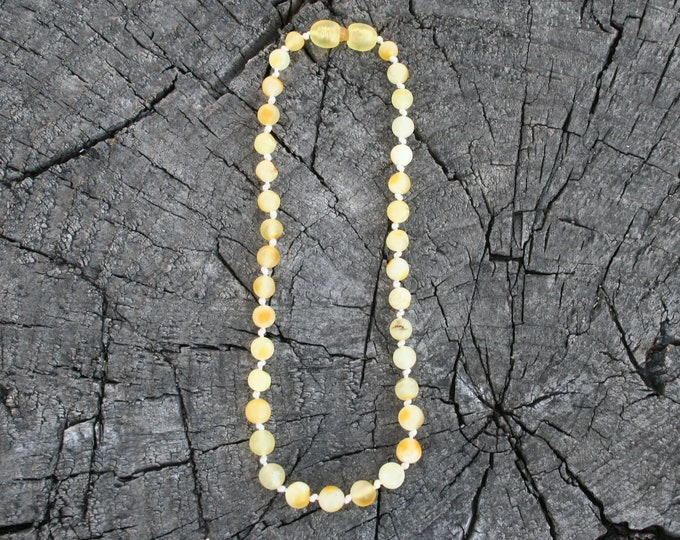 Featured listing image: Baltic Amber, Milky Yellow, Teething Necklace, Bracelet, Anklet, or Belly Chain - Lightest Color- Raw Unpolished - Screw or Safety clasp