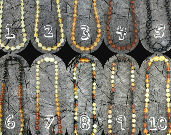 Featured listing image: Baltic Amber Necklace, Bracelet, Anklet, or Waist Beads- 60 Styles, Any Length, Safety or Screw Clasp, Raw and Unpolished- Certified Genuine