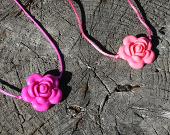 Sensory Necklace with Silicone Rose Pendant