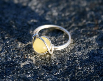 Baltic Amber Ring, Sterling Silver, Wire Wrapped, Unpolished, Raw, Any Size