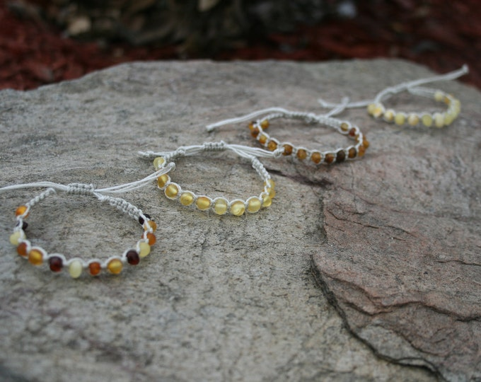 Featured listing image: Baltic Amber Adjustable Bracelet, Anklet, Thigh or Arm Jewelry, Children and Adults, Raw & Unpolished, Genuine, Certified