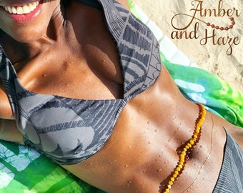 Baltic Amber Waist Beads- Belly Chain- 60 Styles, Any Length, Raw and Unpolished- Custom Made Holistic Jewelry- Certified Genuine