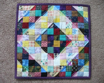 Handmade Purple Trimmed Doll Quilt or Candle Mat