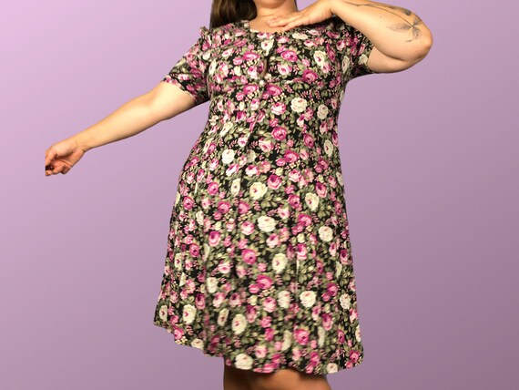 size 12 size 14 plus size vintage black and pink … - image 1