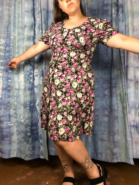 size 12 size 14 plus size vintage black and pink … - image 3