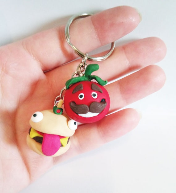 Fortnite Key Chain Polymer Clay Charms Durr Burger And Tomato Head Gaming Gift Geeky Things Video Game Swag Set Of 2
