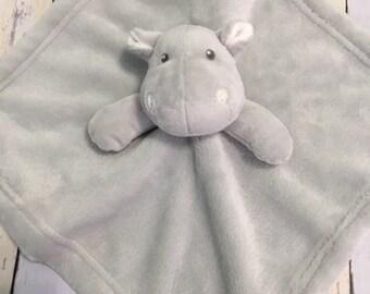 Baby blanket, baby Animal lovie,gray hippo,  blankey, personalized  lovie, baby shower gift, monogram baby gift, monogram blankie,