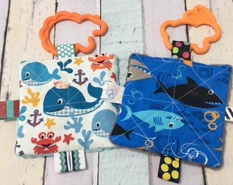 Baby girl toys, baby boy toys, infant toys, teething toys, sea creatures  print, sound toys, crinkle toys, stroller toys, girls baby shower.