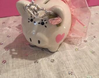 "Baby piggy bank, tutu piggy bank, mini piggy bank,  4"" x3"" , personalized girls piggy bank, baby shower gifts, girls gfts, princess bank"