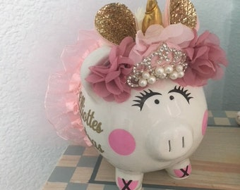 """Unicorn piggy  bank, 5"""", custom handmade,  baby shower gift, baby shower decorations, new baby gift, first birthday gift, tutu piggy bank"""