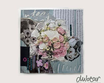 Floral collage, handmade, gift for her, flower power, mixed media collage, unique gift, wall art, pink rose, gray, valentines day