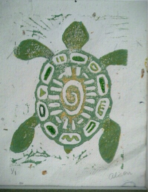 Turtle 4 x 6 linocut matted print