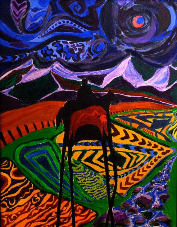 On Sale Moonlight Rider original acrylic 24 x 36