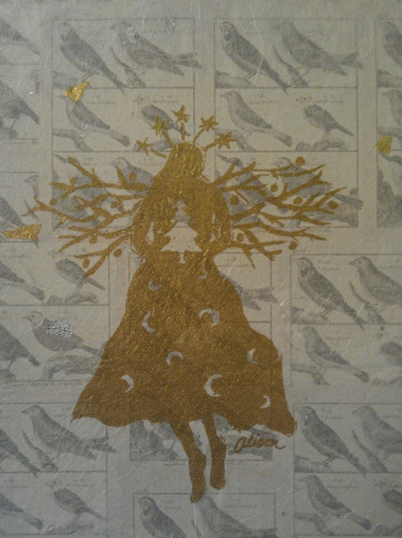 Tree Angel with Birds gold in cream 8 x 10 matted print