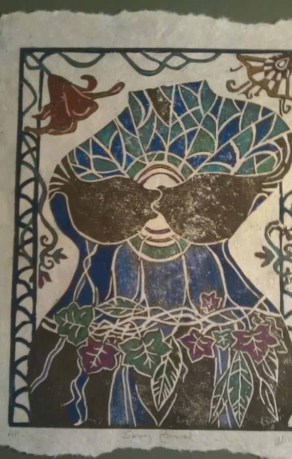 Spring Revival original 9 x 12 linocut print deep chocolate brown on natural handmade paper