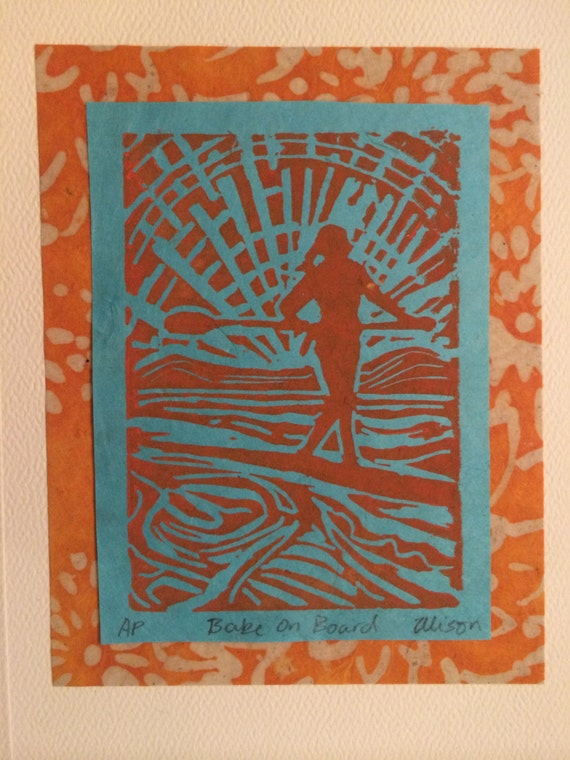 Babe on Board 8 x 10 matted linocut print
