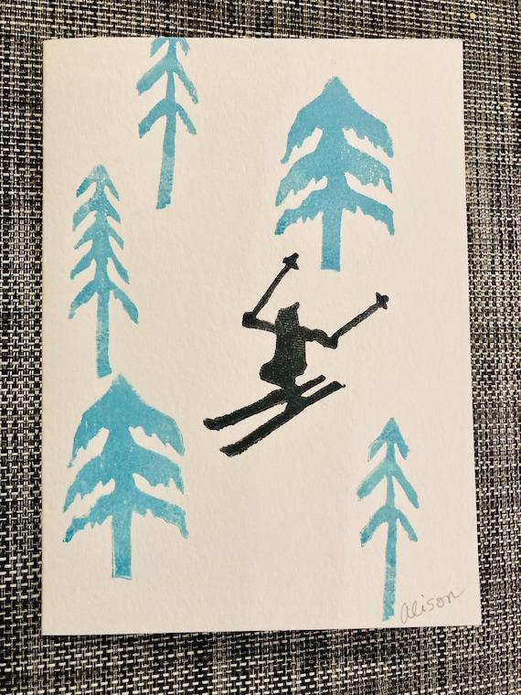 Skier Trio 5x7 block print cards