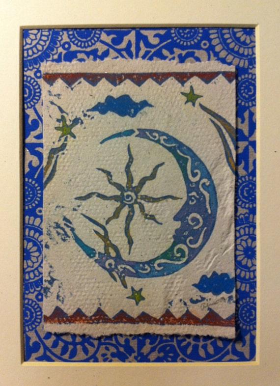 Luna linocut matted 8 x 10 print