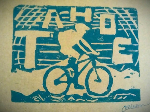 TAHOE Mountain Biker 4 x 6 hand printed card in teal