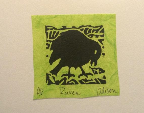 Raven 4 x 6 linocut card