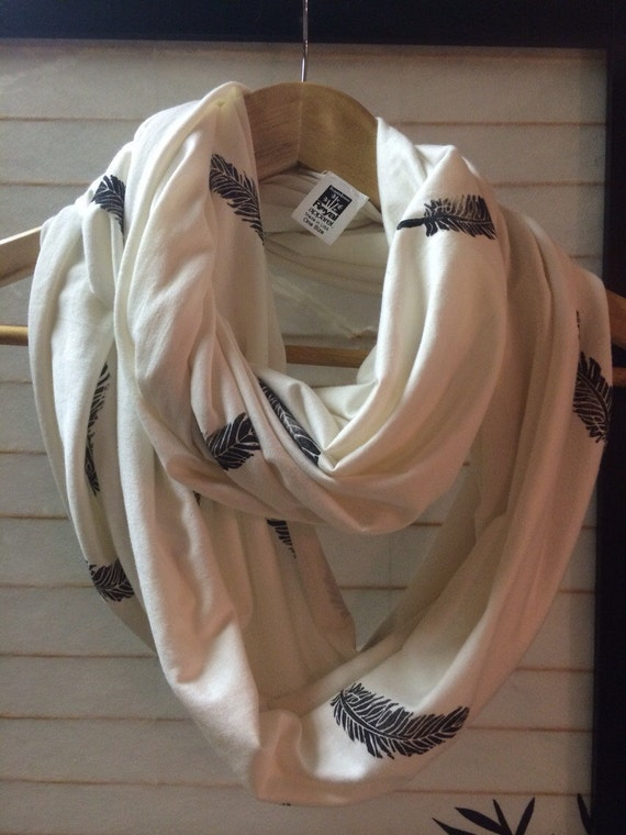 Natural Bamboo fiber infinity scarf with hand printed feathers