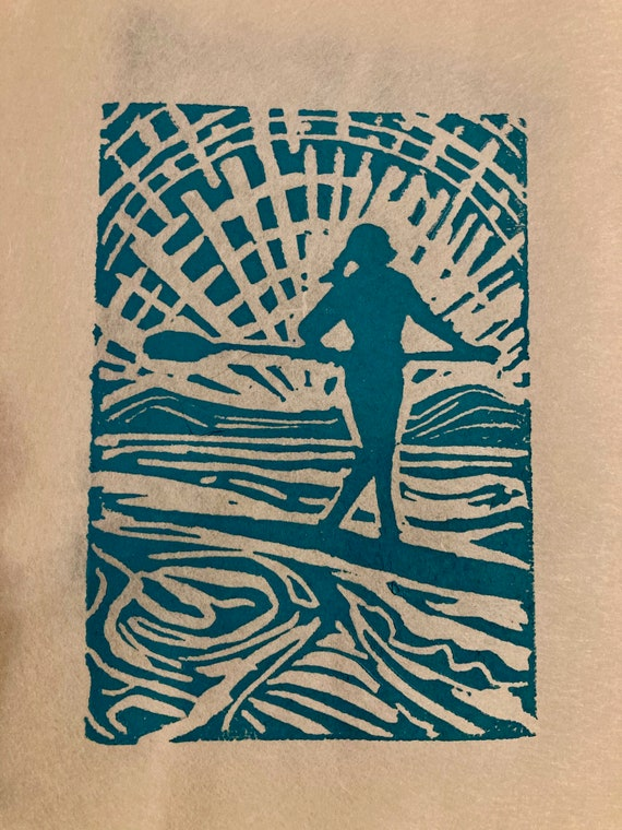 Babe On Board Stand Up Paddle block print 5x7 card