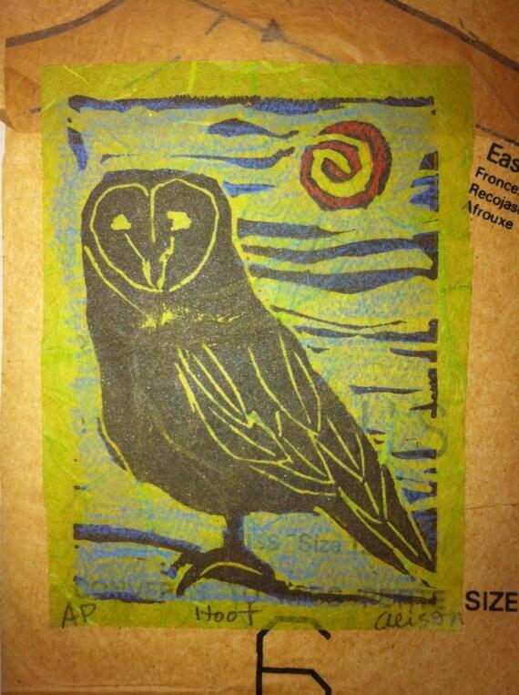 Hoot 5 x 7 linocut owl card