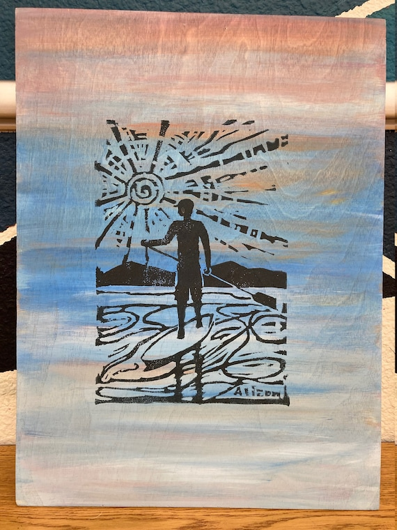 SUP block print art on wood  12 x 16