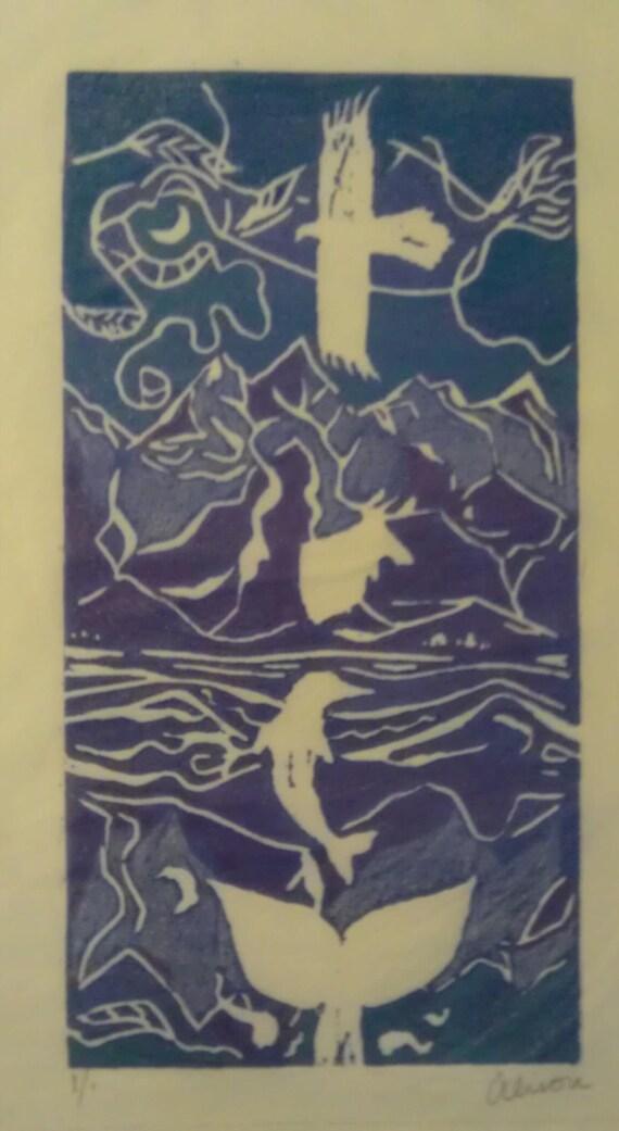 Animal Spirit Totem 4 x 8 linocut print