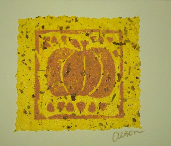 Pumpkin 3 x 3 linocut print