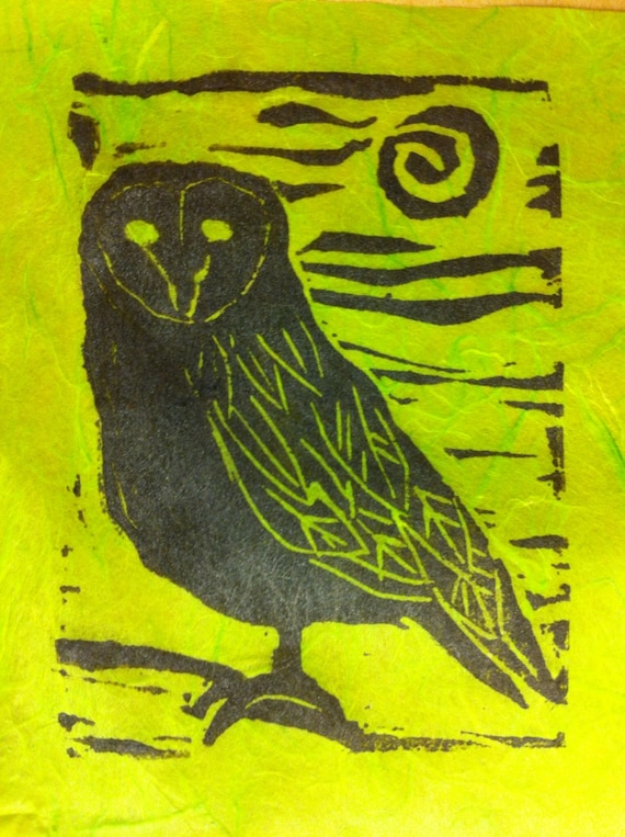 "4"" x 6"" Owl linocut print on Thai rice papers"