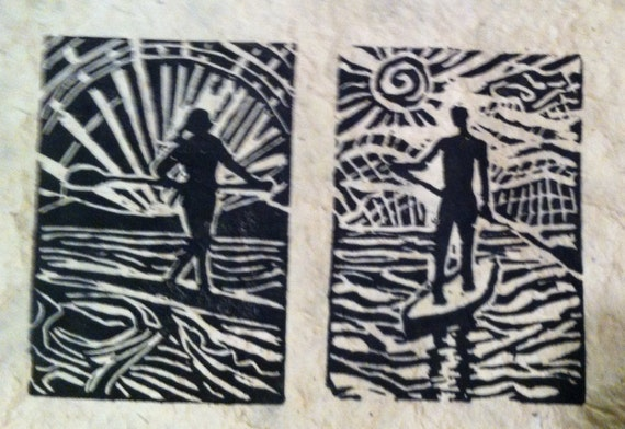 His and Hers paddler 8 x 10 linocut print