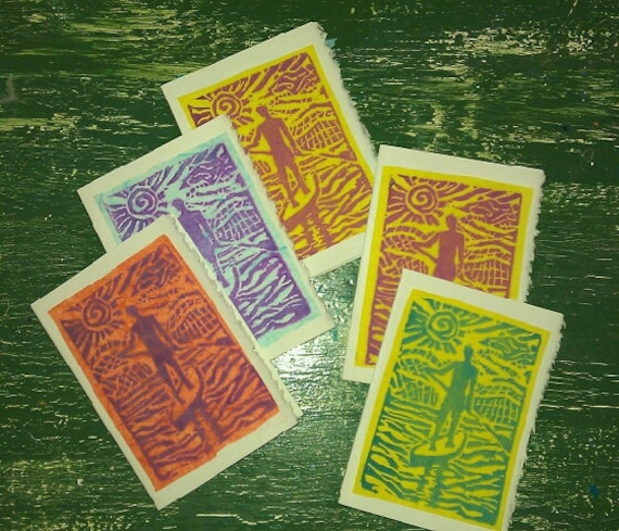 """SUP block print 3 x 5 cards- """"On Board"""" 5 pack"""