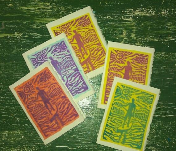 "Linocut notecards- ""On Board"" 5 pack"