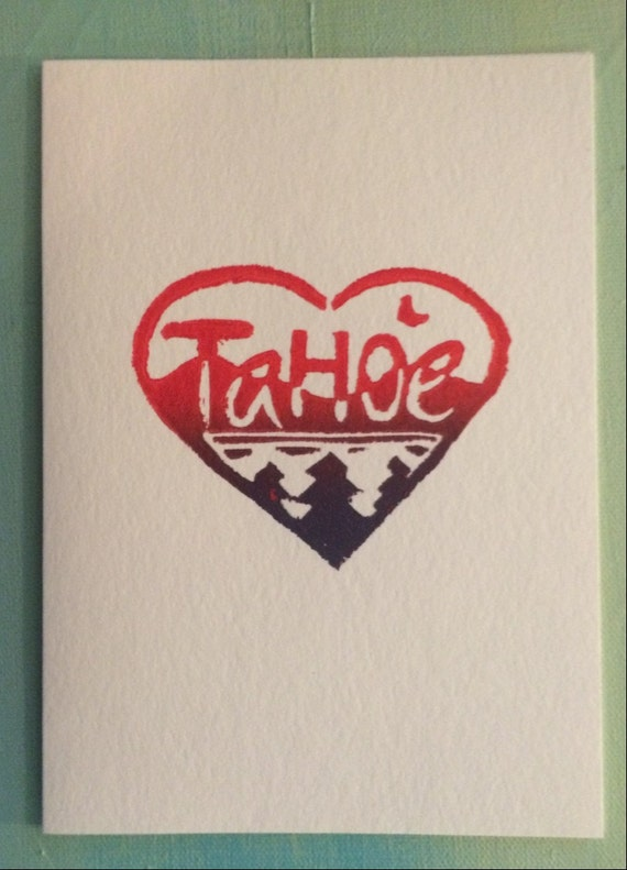 Tahoe Love 5 x 7 block print card