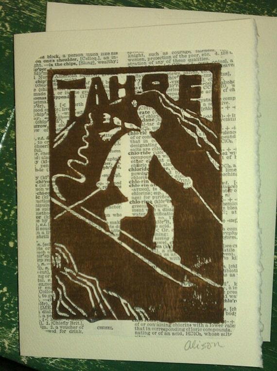 Tahoe Tele Skier 4 x 5 Linocut print on 5 x 7 card